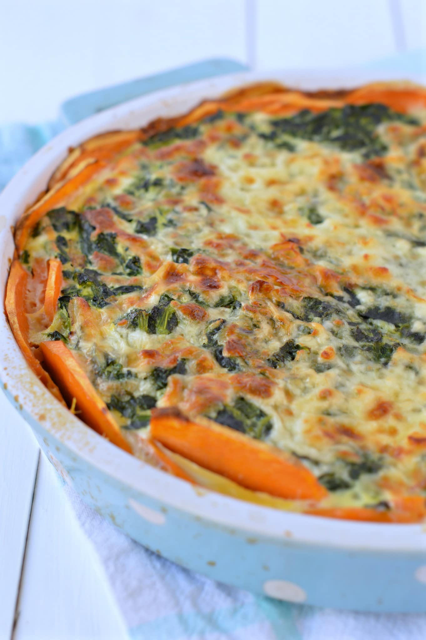 Sweet potatoes Crusted Spinach Quiche - Sweetashoney