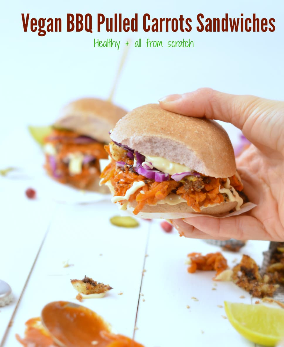 vegan BBQ pulled carrots sandwiches