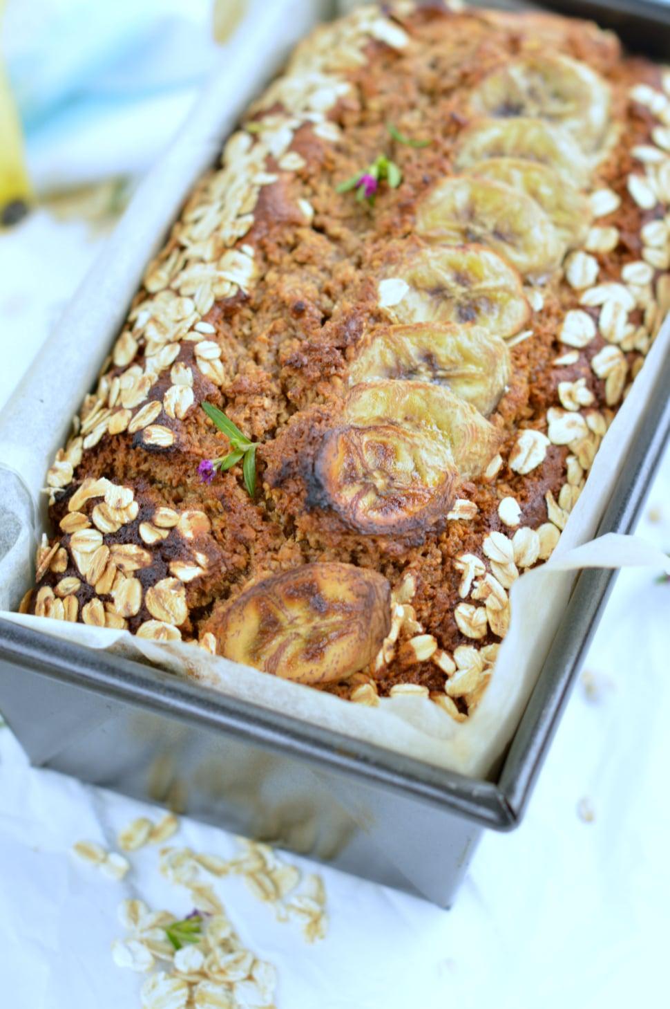 Oatmeal banana bread | Eggless banana bread