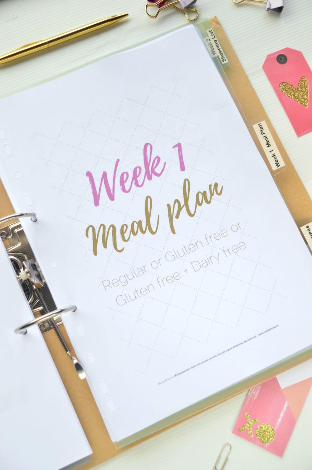 week 1 meal plan