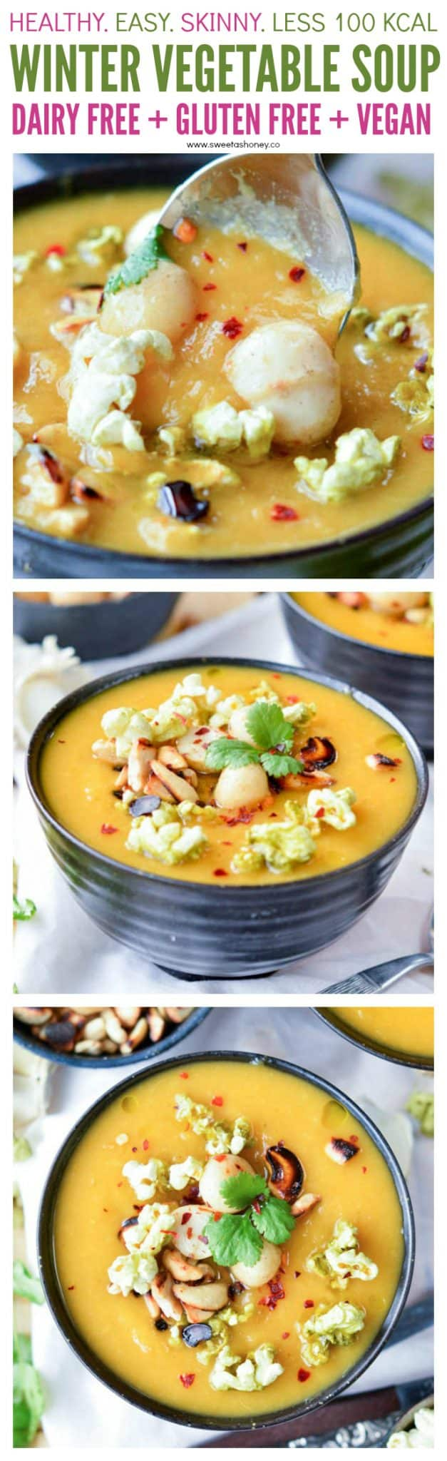 Healthy Creamy Winter Vegetable Soup with Cabbage and Sweet Potato. An easy skinny vegan soup with almond milk and less than 100 kcal per serve. Perfect comfort food dinner. #soup #soupoftheday #souprecipes